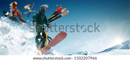 Skiing. Snow scoot. Snowboarding.  Extreme winter sports. #1502207966