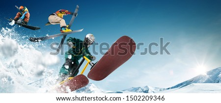 Skiing. Snow scoot. Snowboarding.  Extreme winter sports. #1502209346