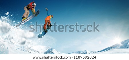 Skiing. Snowboarding. Extreme winter sports. #1189592824
