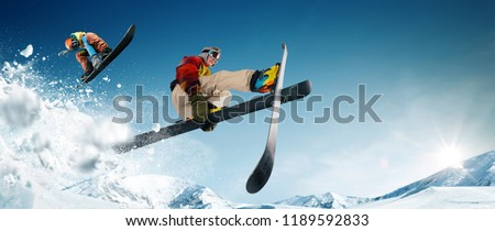 Skiing. Snowboarding. Extreme winter sports.