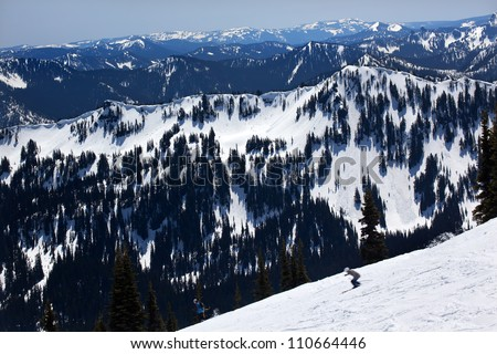 Skiing Snowy Ridge Lines Crystal Mountain Rocks Snow Trees