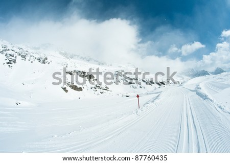 skiing track under beautiful sky