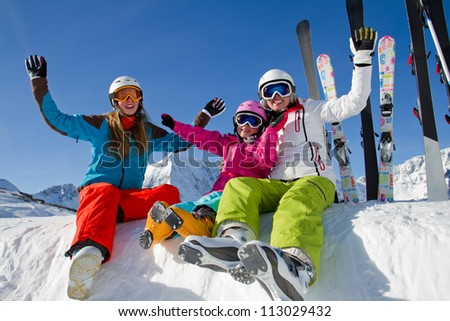 Skiing winter holidays happy skiers enjoying winter vacation