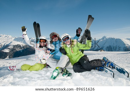 Skiing, winter - portrait of happy family on ski holiday