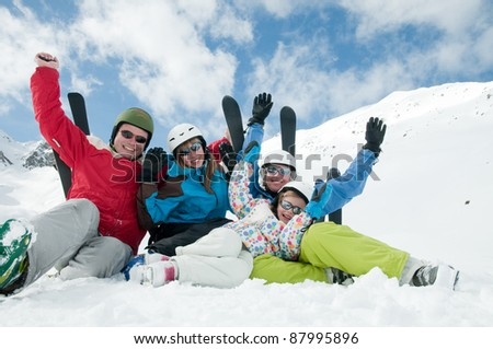 Skiing,winter -  portrait of sporty family