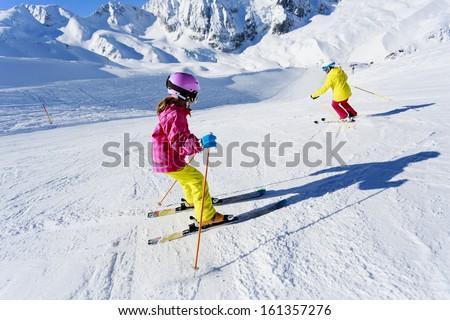 Skiing, winter, ski lesson - skiers on ski run #161357276