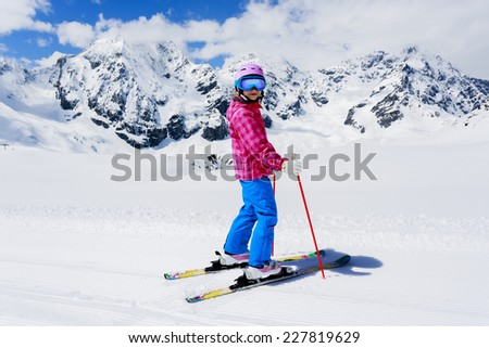 Skiing, winter sport - child skiing
