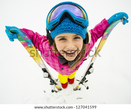 Skiing, winter sports - portrait of young skier