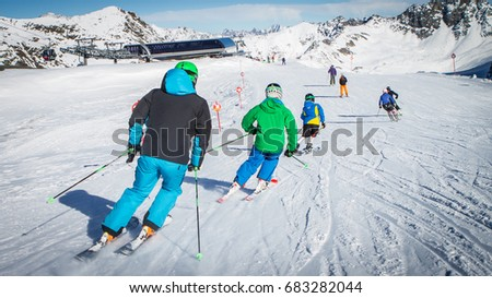 skiing with kids #683282044