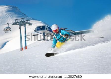 Skiing woman having fun