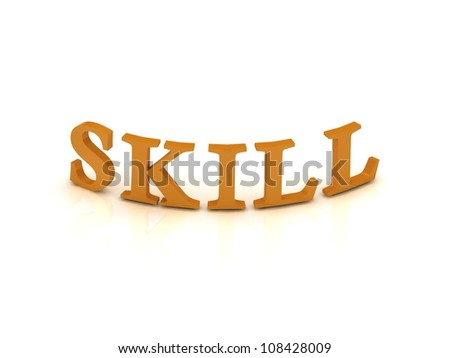 SKILL sign with orange letters on isolated white background