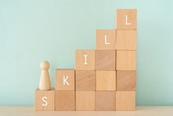 SKILL; Wooden blocks with