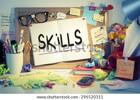 Skills note on paper pinned on bulletin board