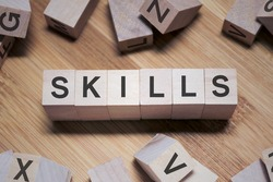 Skills Word Written In Wooden Cube
