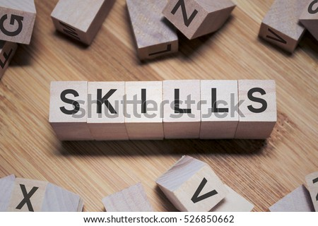 Skills Word Written In Wooden Cube #526850662