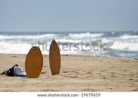 Skimboards at the beach