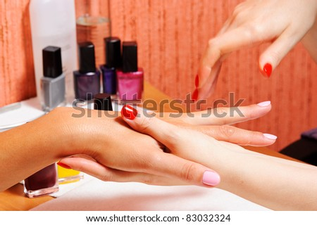 Skin and nail care. Applying of the massage