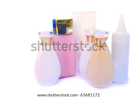 Skin care cosmetics isolated on white background.