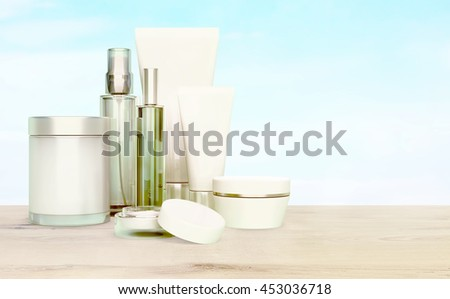 Skin care on a wooden table on a background of blue sky.  3D illustration