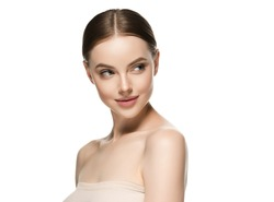 Skin care woman face with healthy beauty skin face closeup cosmetic age concept