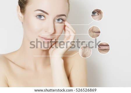 skin revitalizing concept, woman applies product to her cheek #526526869