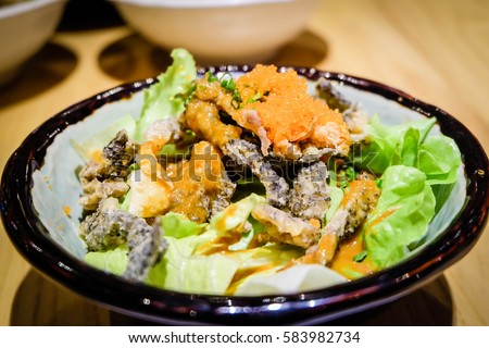 Skin salmon salad #583982734