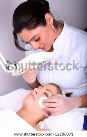 Skin treatment in a beauty salon - stock photo