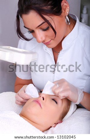Skin treatment in a beauty salon