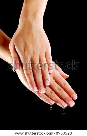Skincare - dryness of woman hands. Moistening.