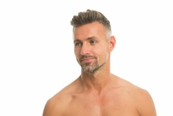 Skincare is essential. Handsome man with bare shoulders isolated on white. Unshaven face skin. Mens skincare. Skincare routine. Skincare cosmetic products. Skin grooming habit. Give skin a chance.