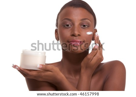 stock photo : Skincare - Young naked ethnic African-American woman with ...