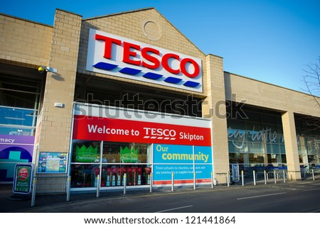 SKIPTON-DEC 10: Tesco Store on Dec. 10, 2012 in Skipton, North Yorkshire, United Kingdom, Great Britain, England, UK. Britain's biggest supermarket and biggest retailer in UK.