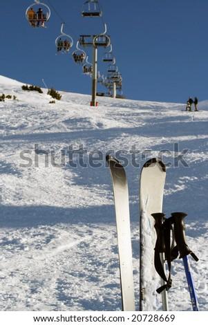 Skis and Ski lift in a Ski Station