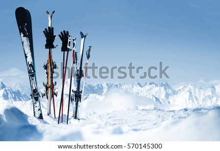Skis in the snow #570145300