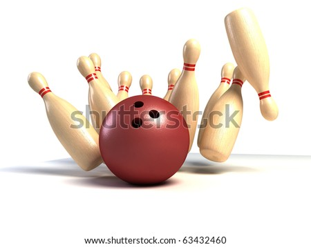 skittles and ball on white background, bowling