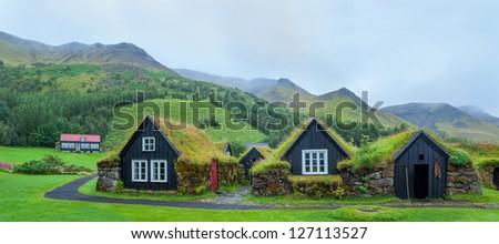 Skogar folk museum and iceland ancient architecture. Panorama