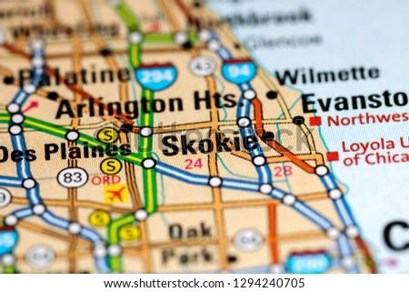 Skokie. Illinois. USA on a map Zdjęcia stock ©