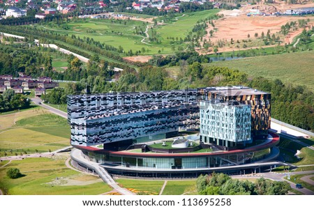 SKOLKOVO,MOSCOW-JUL 23: Aerial viw of The Skolkovo Innovation Center on 23 july of 2012 near Moscow.Skolkovo innovation city might be chosen as the venue for the G8 summit to be held in Russia in 2014