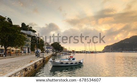 Skopelos, Greece - June 15, 2017: View of the harbour in Skopelos town, Greece.  #678534607