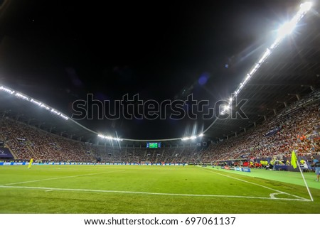 Skopje, FYROM - August 8,2017: Interior view of the full at Philip II Arena Stadium in Skopje during the match UEFA Super Cup final soccer between Real Madrid vs Manchester United #697061137