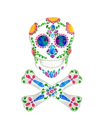 Skull and bone with jewelry decorated for day of the dead, watercolor hand painting illustration on white background with clipping path