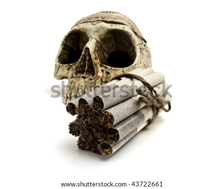 skull and cigarettes  on white background
