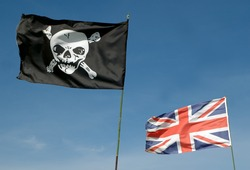 skull and crossbones and GB union flag