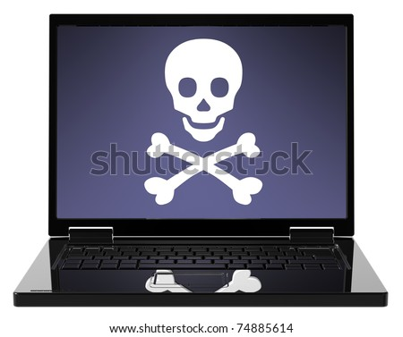 Skull and crossbones on the laptop screen. The danger of the Internet - hackers, viruses, addiction. Computer generated 3D photo rendering
