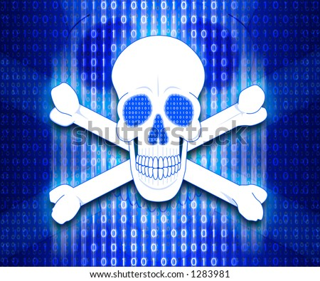 Skull and crossbones with a background of binary digits (spirit of hacker).