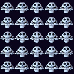 Skull and hand bones on a black background pattern. A repeating image for Halloween, for wrapping paper, for a trendy rocker or biker headscarf or bandana. Dark blue background, white details.