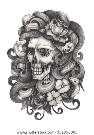 Skull art day of the dead. Hand pencil drawing on paper.