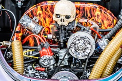 Skull car engine