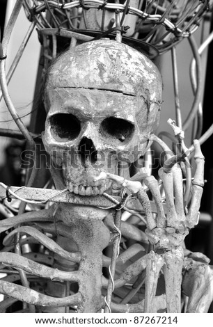 Skull chained in metal cage