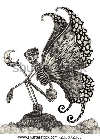 Skull fairy hand drawing on paper stock photo 205872067 for Skull fairy tattoos
